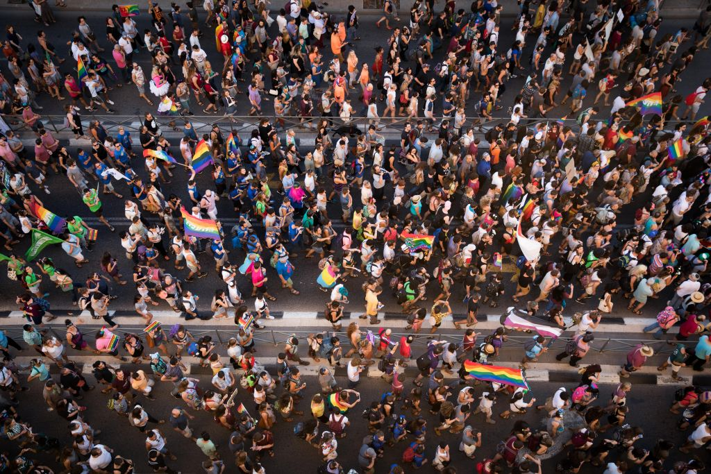 People participate in the annual Gay Pride parade in central Jerusalem, under heavy security on August 3, 2017. (Nati Shohat/Flash90)