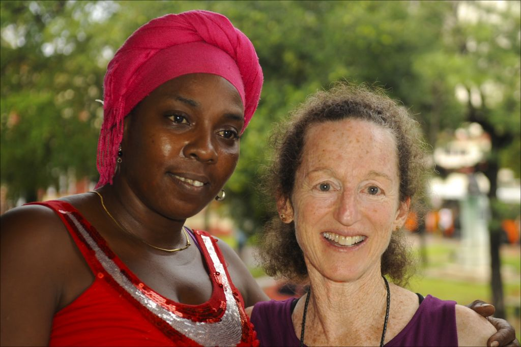 Dance instructor Dámaris Suárez Miró, left, with Judy Keith, director of the <br> 'Forgotten Jewels' documentary in Havana. (Larry Luxner/ Times of Israel)