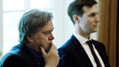 Stephen Bannon, left, and Jared Kushner in the Cabinet Room of the White House, June 12, 2017. JTA