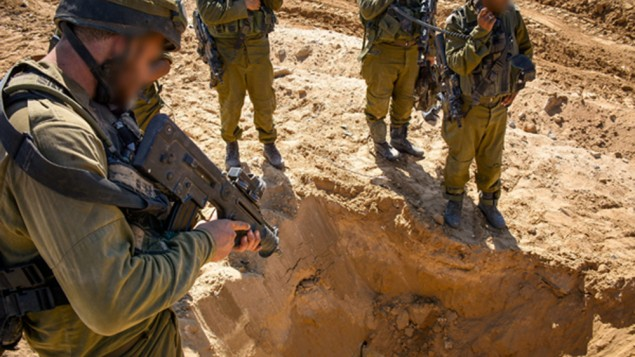 IDF soldiers at the opening of a Hamas tunnel