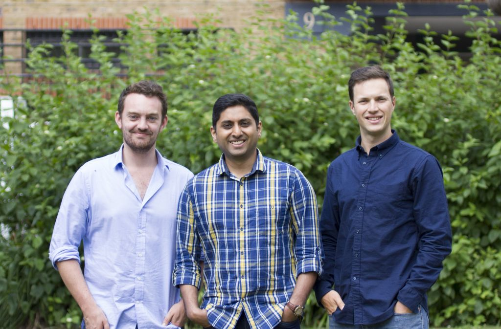 Jonny Plein (right) with co-founders Vikram Simha (centre) and Ben Corrigan (left)