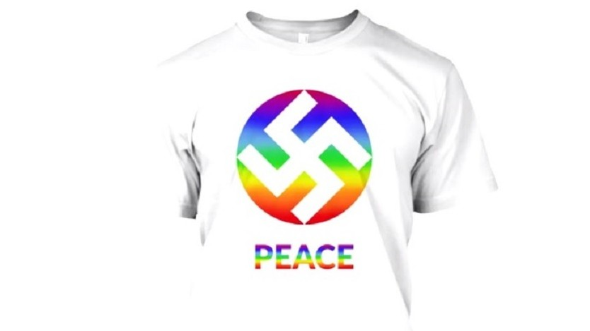 Shirts with rainbow-swastika design spark outrage
