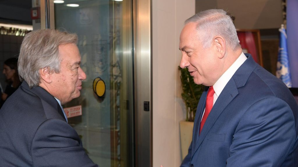 Prime Minister Benjamin Netanyahu welcoming UN Secretary General Antonio Guterres to the Prime Minister's Office in Jerusalem
