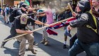 Far-right protestors and anti-fascist demonstrators clash in Charlottesville, Virginia.