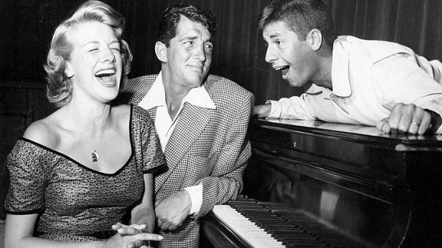 Photo of Rosemary Clooney, Dean Martin and Jerry Lewis from the radio and television program The Colgate Comedy Hour.
