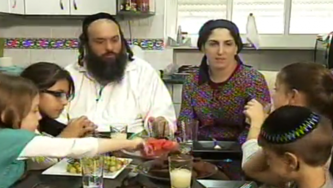 The Sadna family at their apartment in Jerusalem. (Screen capture: Channel 2)