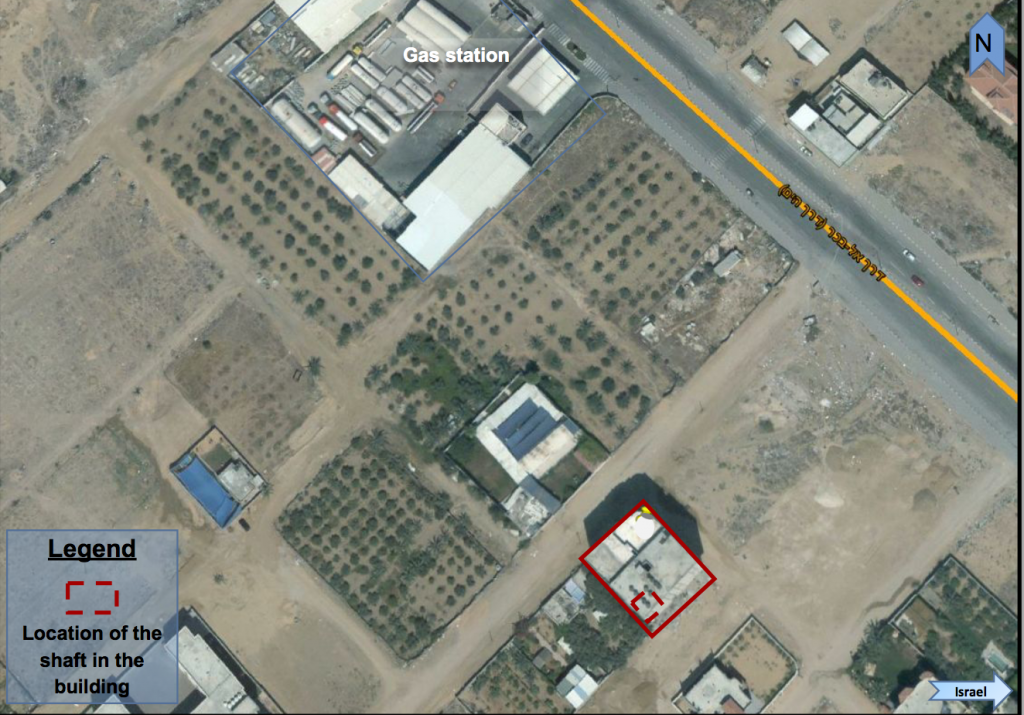 A satellite image provided by the IDF that allegedly shows the location of a Hamas tunnel that was dug beneath an apartment building in northern Gaza. (Israel Defense Forces)