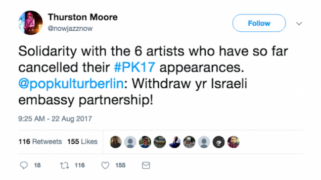 "Thurston Moore, a former member of Sonic Youth, called on the festival to cancel the Israeli Embassy sponsorship ""in solidarity with [the] Palestinian call for cultural boycott"""