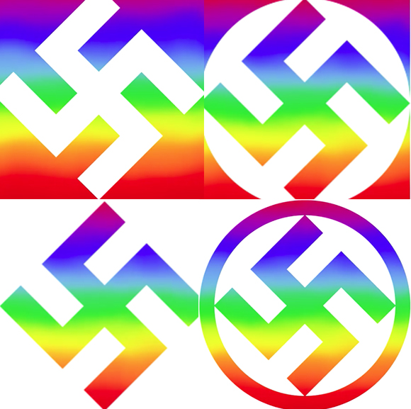 Screenshots from swastikas used in KA Designs' video