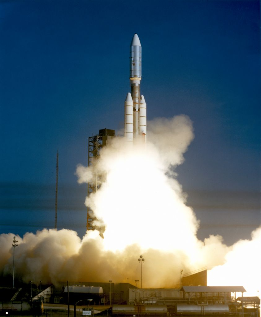 Voyager 1 aboard the Titan III/Centaur lifted off on 5 September 1977, joining its sister spacecraft, Voyager 2, on a mission to the outer planets. (NASA)