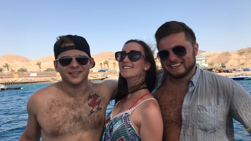 Actor Jonathan Lipnicki with friends at the Dead Sea during his Birthright trip on August 1, 2017. (courtesy Jonathan Lipnicki)
