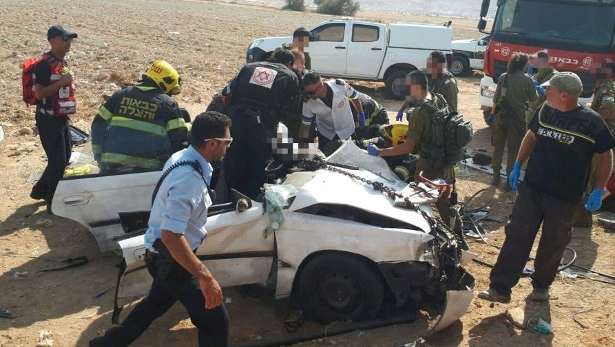 One of the cars hit in a head-on collision in the Jordan Valley on August 22, 2017. (Magen David Adom)