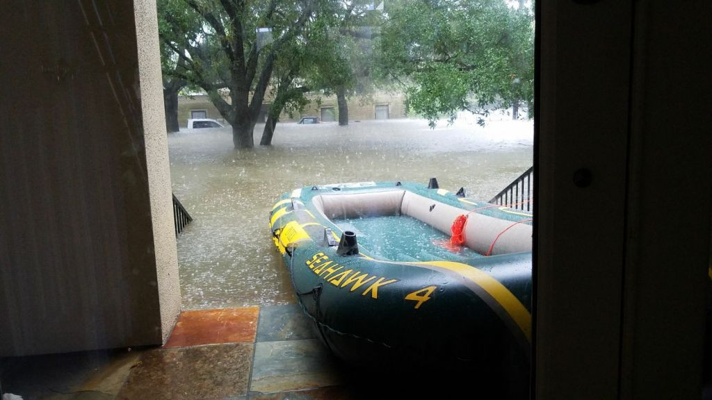 The life raft from which B'nai Akiva emissary Rafi Engelhart helped rescue stranded Houstonians from Tropical Storm Harvey, August 27. (Courtesy)