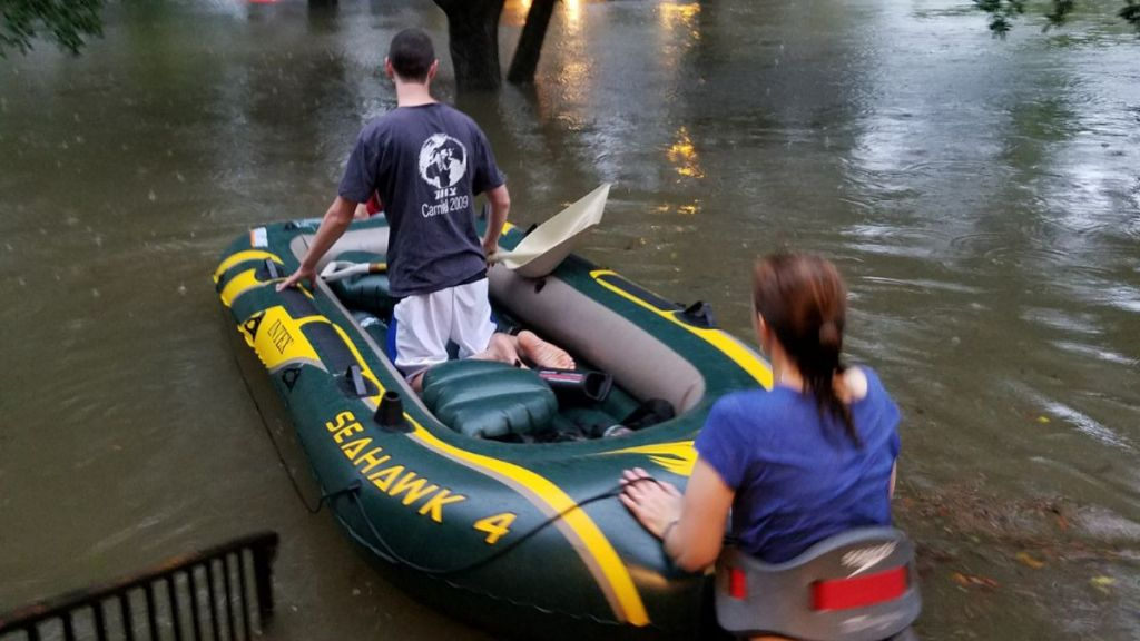 B'nai Akiva emissary Rafi Engelhart sets out with a neighbor who is an EMT to rescue stranded Houstonians from Tropical Storm Harvey, August 27. (Courtesy)
