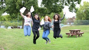 Yavneh College students celebrate their GCSE results in 2015! (Photo credit Marc Morris)