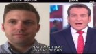 Richard Spencer, à gauche, leader de l'extrême-droite alternative, interviewé sur la Deuxième chaîne par Dany Cushmaro, le 16 août 2017. (Crédit : capture d'écran YouTube)