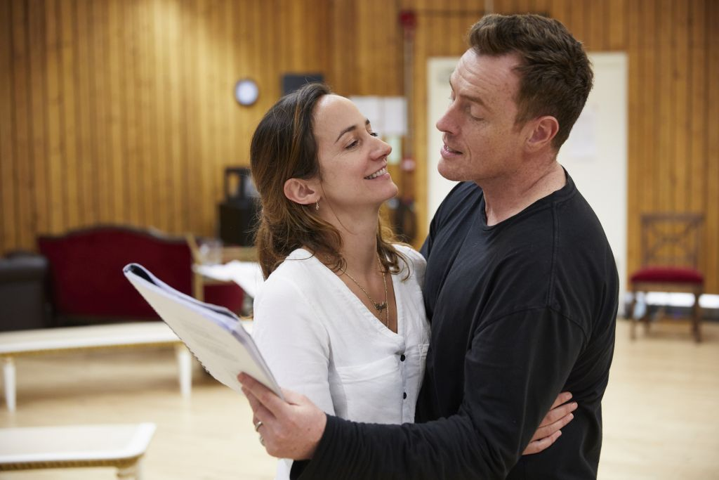 Lydia Leonard and Toby Stephens as diplomat couple Mona Juul and Terje Rod-Larsen, in rehearsal for Oslo