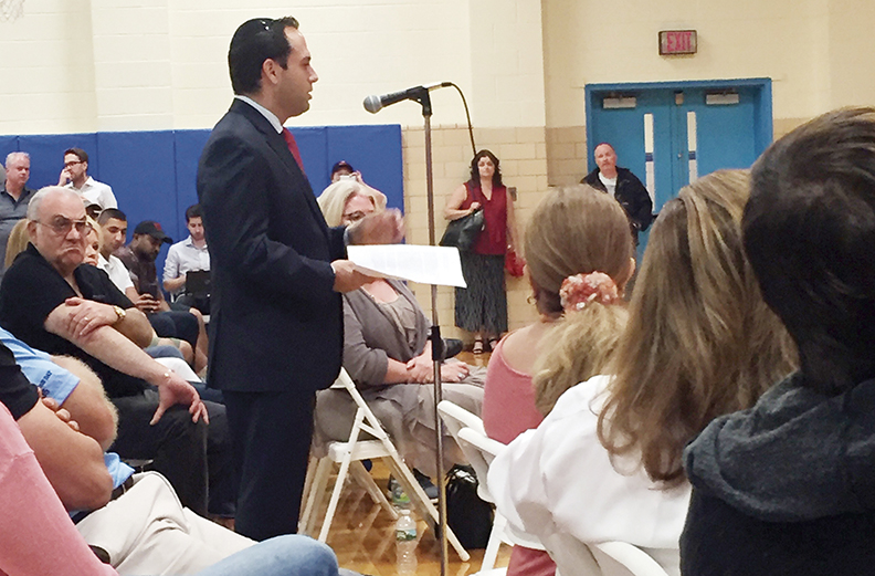 Englewood City Council member Michael Cohen, who is also the Simon Wiesenthal Center's eastern director, addresses the city council meeting in Upper Saddle River on the proposed eruv. Cohen also spoke before the Mahwah city council.