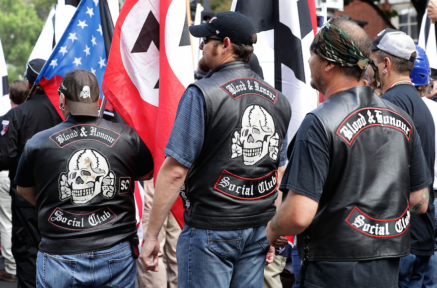 Hundreds of white nationalists, neo-Nazis and members of the 'alt-right' march down East Market Street toward Emancipation Park during the Unite the Right rally August 12, 2017 in Charlottesville, Virginia. (Chip Somodevilla/Getty Images)