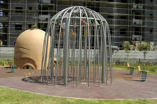 Meir Shalev's beloved children's book, 'Nechama the Louse,' is such a standard among kids that a Holon playground includes climbing equipment based on the book's illustrations (Courtesy Holon Municipality)