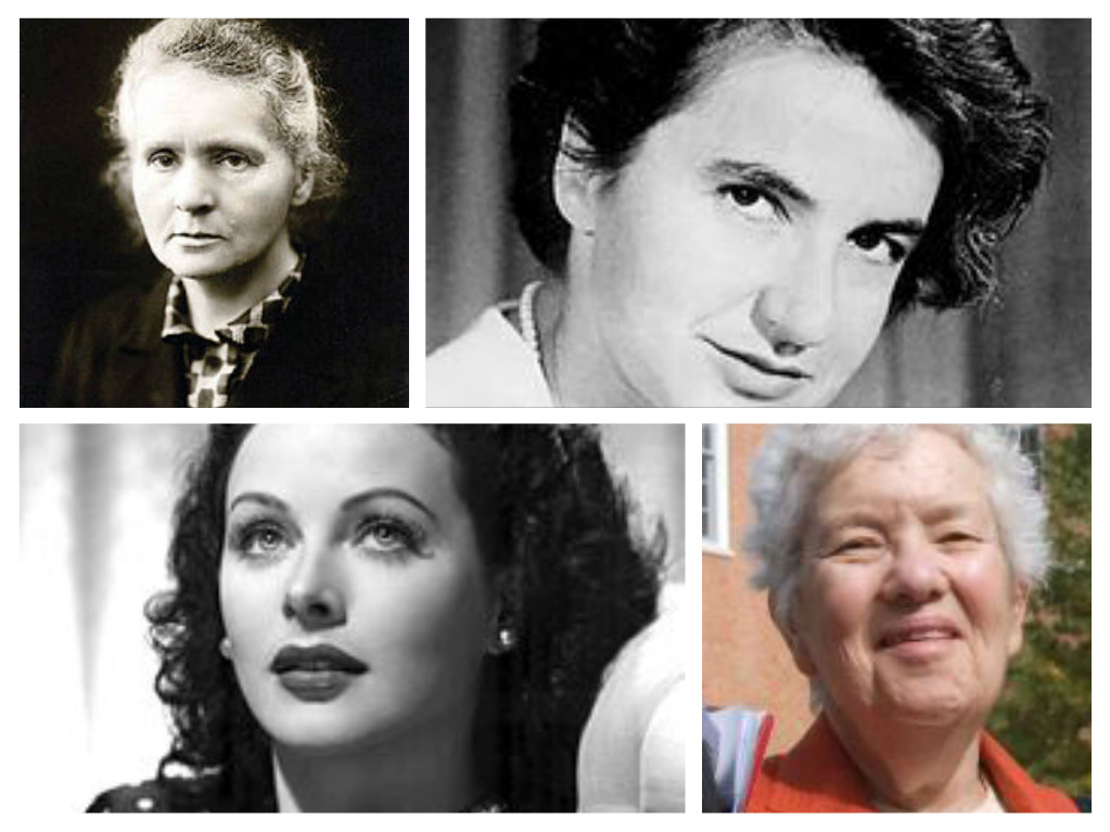 Their performance focuses on five female scientific leaders including: Top left-right, Marie_Curie and Rosalind_Franklin and bottom left-right: Hedy Lamarr and Vera Rubin
