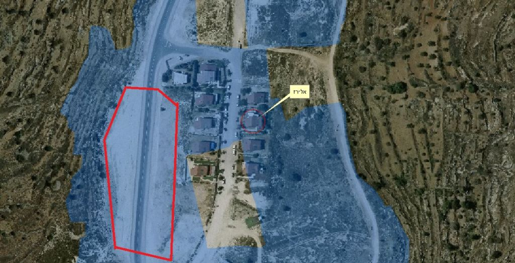 An aerial photo of the Hayovel outpost. The blue-shaded areas were declared state-land by the Civil Administration in 2011, though the homes built there still have not been fully authorized. The area in red is the approximate location of the construction site. Defense Ministry adviser Kobi Eliraz lives in the home marked by the yellow box. (Courtesy: Dror Etkes)
