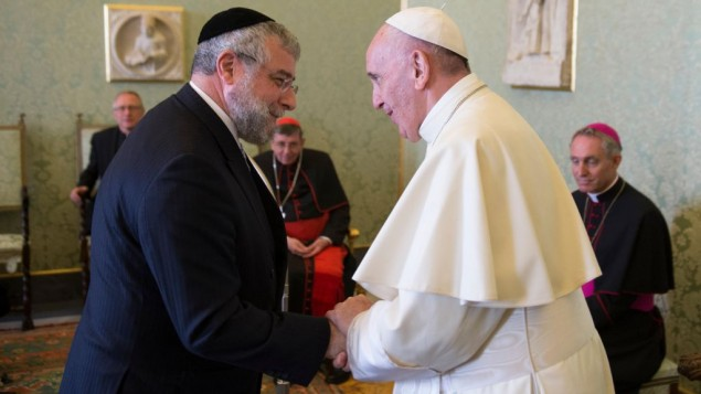 Rabbi Pinchas Goldschmidt with Pope Francis   ©L'Osservatore Romano-S.F.V