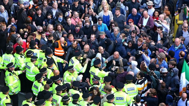 Police intervening in Liverpool to protect members of National Action.    Photo credit: Peter Byrne/PA Wire