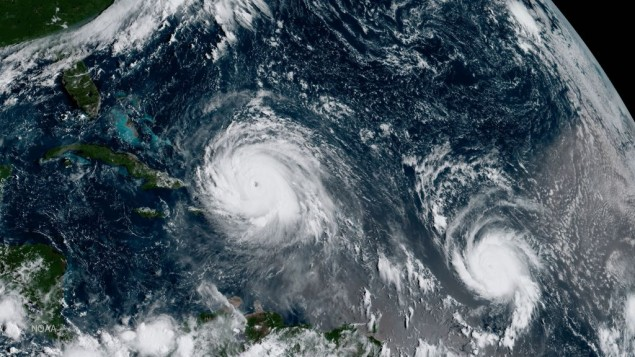 Geocolor image issued by NOAA of Hurricane Irma (left) and Hurricane Jose (right) in the Atlantic Ocean.   Photo credit: NOAA/PA Wire