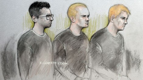 Court artist sketch by Elizabeth Cook of (from the left) Alexander Deakin, 22, Mikko Vehvilainen, 32, and Mark Barrett, 24, appearing at Westminster Magistrates' Court in London where they have been charged with terrorism offences as part of an investigation into banned neo-Nazi group National Action.   Photo credit should read: Elizabeth Cook/PA Wire