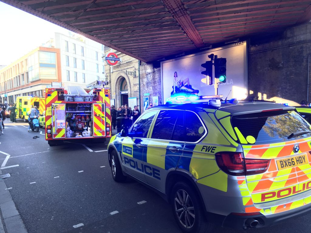 Emergency services attending an incident at Parsons Green station in west London amid reports of an explosion. Photo credit: Richard Aylmer-Hall/PA Wire