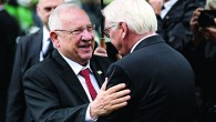 Israel's President Rivlin (left) embraces his German counterpart Frank-Walter Steinmeier (right) in Munich