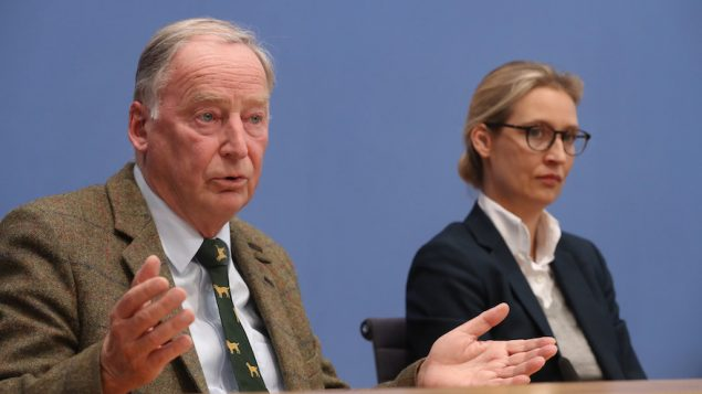 Alexander Gauland, left, and Alice Weidel