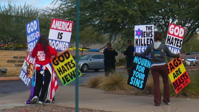 A protest against Jews, held by the Westboro Baptist Church.