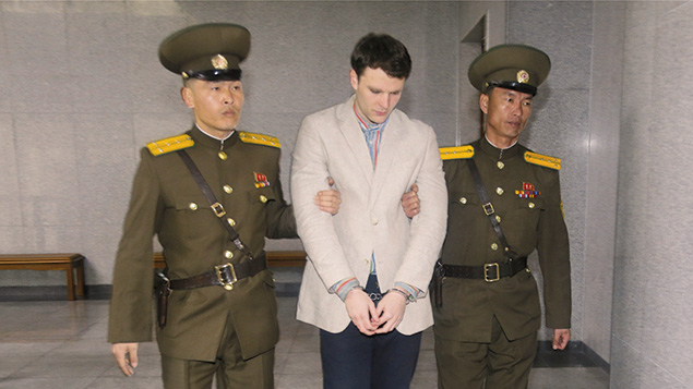 Otto Warmbier arrives at a court for his trial in Pyongyang, North Korea, on March 16, 2015. (Xinhua/Lu Rui via Getty Images)