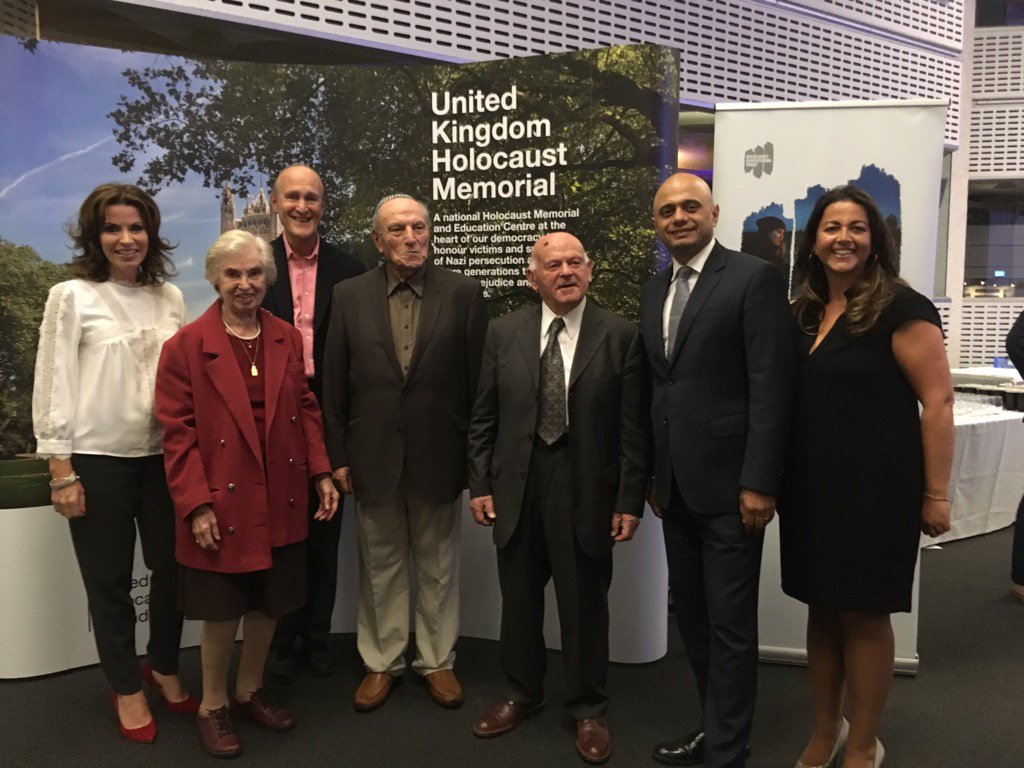 L-R: Broadcaster Natasha Kaplinsky, survivor Renee Salt, Peter Bazalgette - Chair, UKHMF, survivors Leslie Kleinman and Ben Helfgott, Communities Minister Sajid Javid,  and Karen Pollock, Chief Executive of the Holocaust Executive Trust Picture credit: @holocaustuk on Twitter