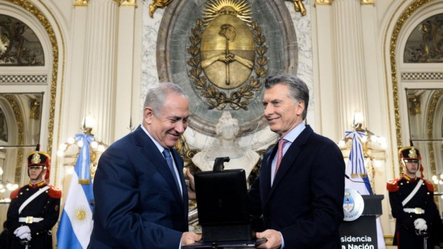 "Argentina's president posted on Twitter: ""I gave to Prime Minister Netanyahu 139 thousand documents produced by the argentina Chancellery between 1939 and 1950 in relation to the Holocaust"""