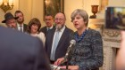Theresa May speaking at the Rosh Hashanah reception in Downing Street, in front of Chief Rabbi Ephraim Mirvis, Israeli envoy to the UK Mark Regev, and other community members