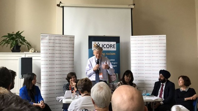 Lord Alf Dubs (centre) speaking at Labour conference, at an event hosted by JCORE   Photo credit: @JewishLabour on Twitter