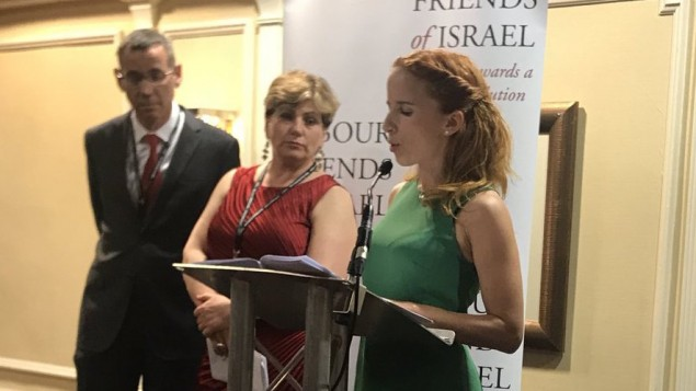 Stav Shaffir addressing the LFI conference in Brighton, as shadow foreign secretary Emily Thornberry and Israeli ambassador to Britain Mark Regev look on