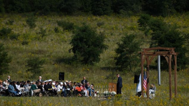 Visitors listen to speakers at the groundbreaking of the Tower Of Voices at the Flight 93 National Memorial on the 16th Anniversary ceremony of the September 11th terrorist attacks, September 10, 2017 in Shanksville, PA. United Airlines Flight 93 crashed into a field outside Shanksville, PA with 40 passengers and 4 hijackers aboard on September 11, 2001.