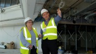 Survivor Iby Knill shares a joke with Greg Brinkworth, Project Manager for HHLC contractors Harry Fairclough Construction