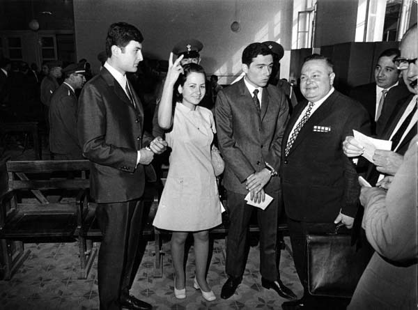 Leila Khaled in Damascus after her release from the United Kingdom in 1970
