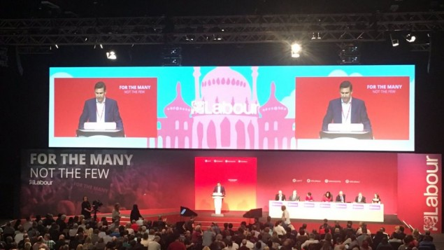 Mike Katz addressing the Labour annual conference.   Picture credit: @JewishLabour  on Twitter