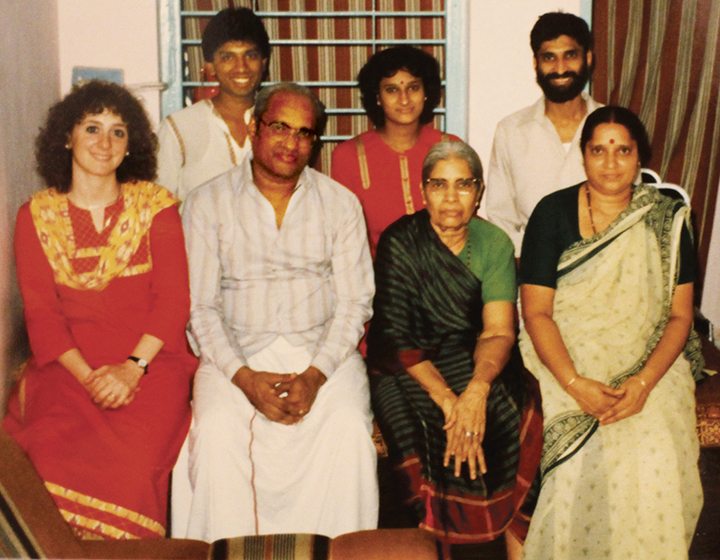 Gitl Schaechter-Viswanath, seated left, and Meylekh Viswanath, top right, in India in 1987. His grandmother, seated second from right, is flanked by his aunt and uncle.