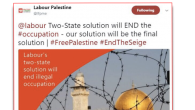 The deleted tweet in question by Labour Friends of Palestine and the Middle East.   Credit: Guido Fawkes