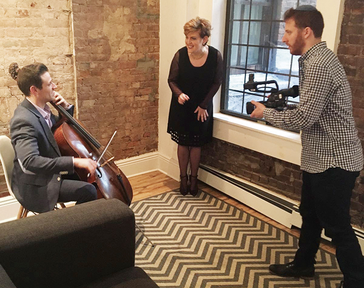 Ms. Teplow with cellist Elad Kabillo and videographer Elisha Mlotek.