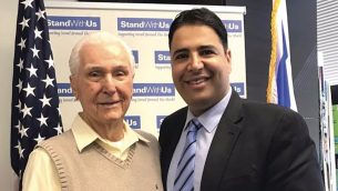 Former Alaska Airlines pilot Elgen Long with StandWithUs' Shahar Azani