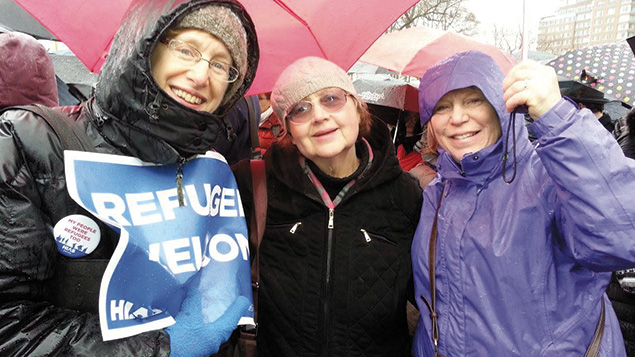Temple Emeth members rally with HIAS in Manhattan in February.