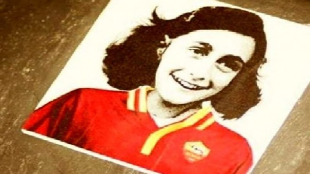 Lazio fans posted pictures of Anne Frank pictured in the shirt of their club rivals, Roma